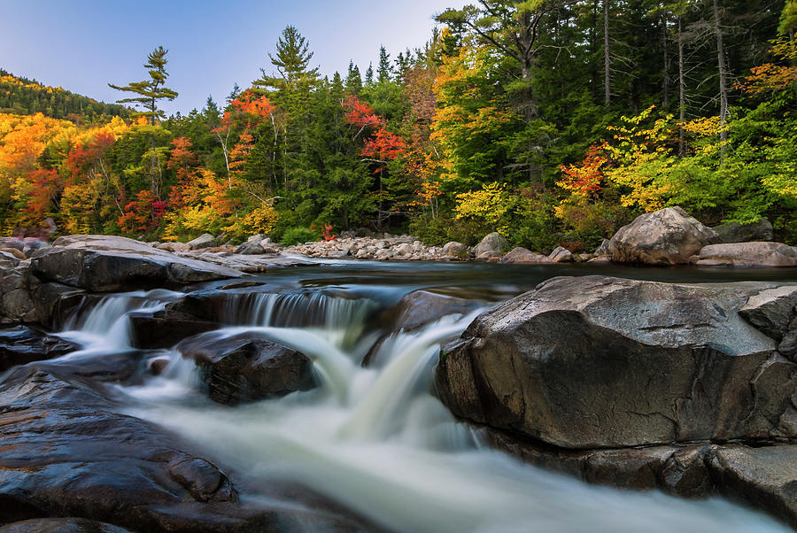 Fall Foliage Photograph - Fall Foliage along Swift River in White Mountains New Hampshire  by Ranjay Mitra