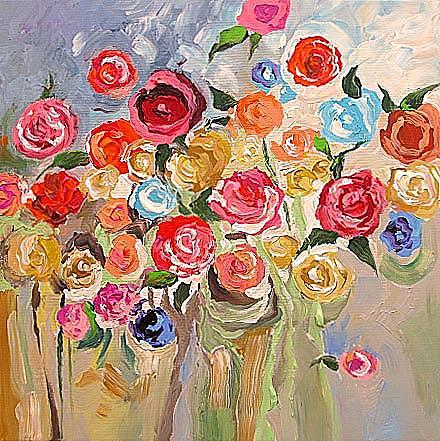 Original Painting - Fall Garden by Linda Monfort