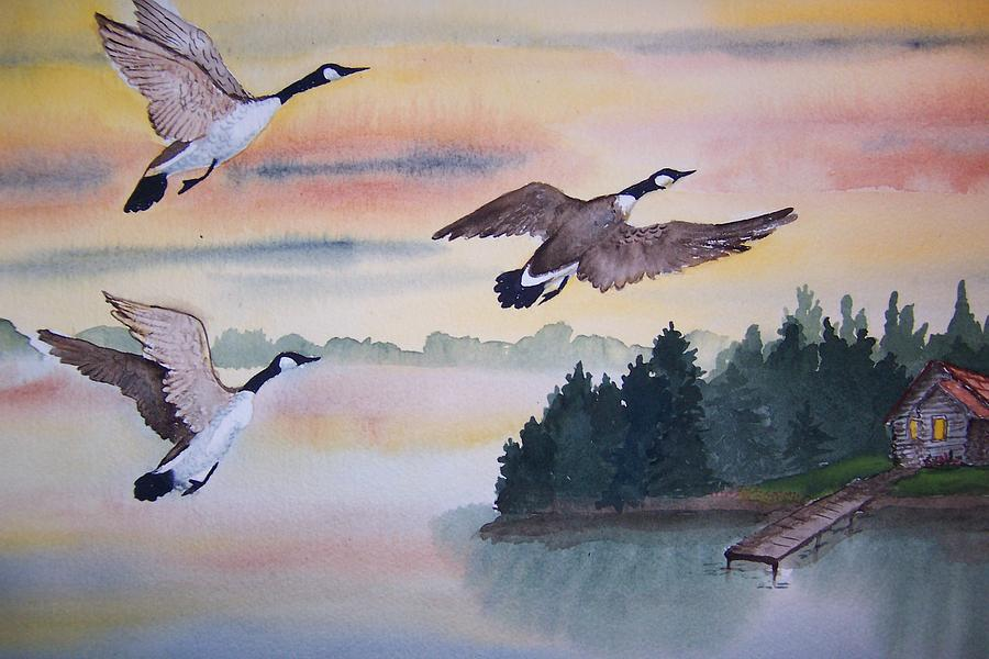 Geese Painting - Fall Geese by Vivian Esler Trout