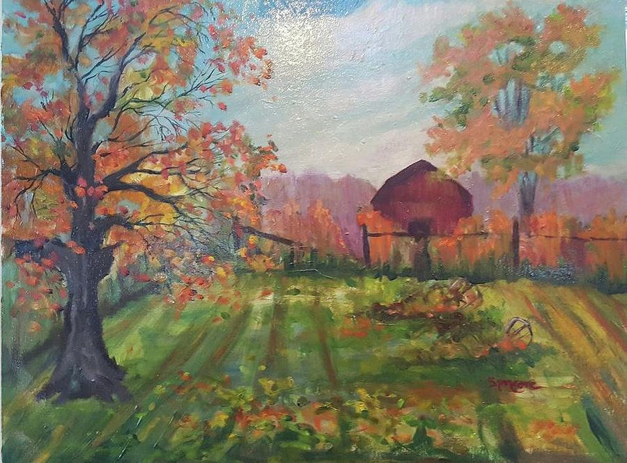 Fall Grapevines and Barn by Cheryl LaBahn Simeone