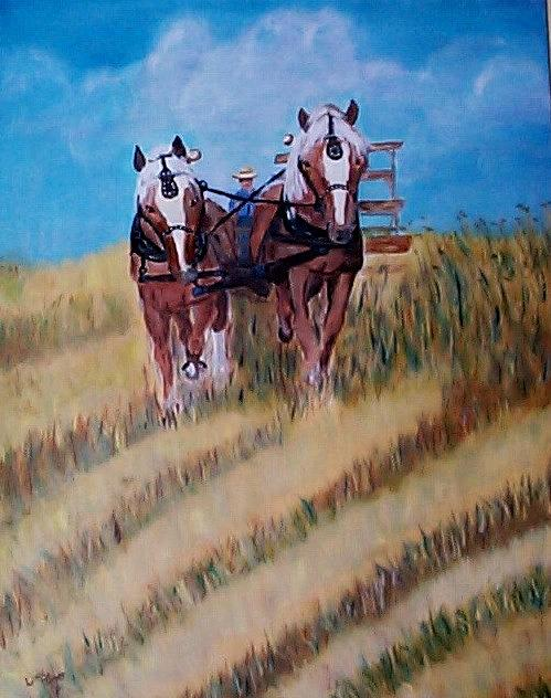 Haying Painting - Fall Harvest - Corn by Linda Turner