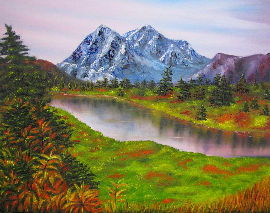 Fall Painting - Fall In Mountains Landscape Oil Painting by Natalja Picugina - Fall In Mountains Landscape Oil Painting Painting By Natalja Picugina