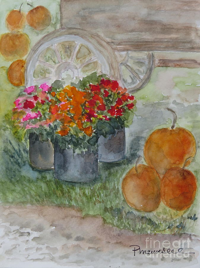 Pumpkins Painting - Fall In Vermont by Peggy Maunsell