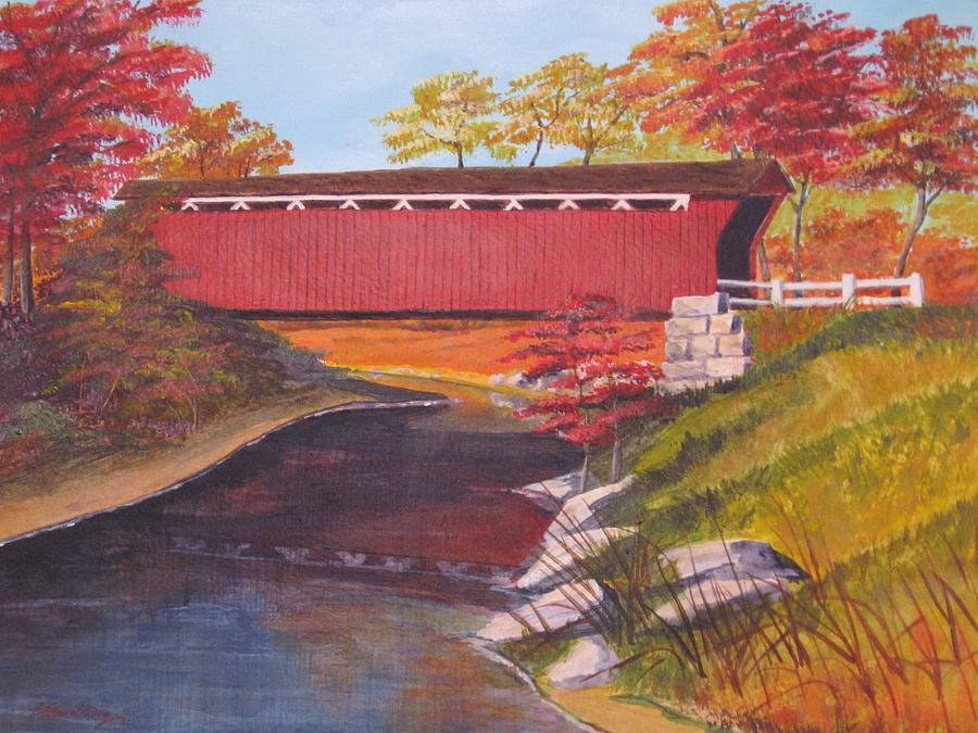 Bridge Painting - Fall Is In The Air by CB Woodling