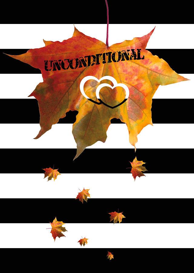 Black And White Stripes Painting - Fall Leaf Love Typography On Black And White Stripes by Georgeta Blanaru
