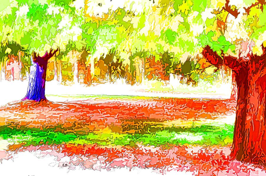 Autumn Painting - Fall Leaves Trees 2 by Lanjee Chee