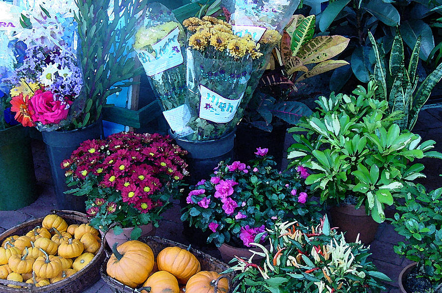 Fall Photograph - Fall Market Scene In Watercolor by Suzanne Gaff