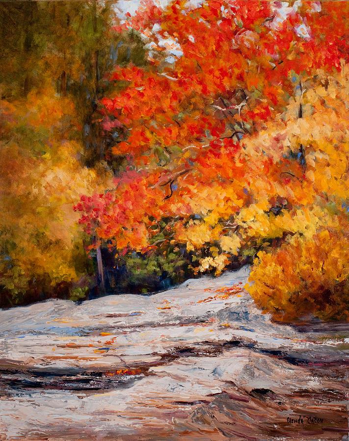 fall mountain foliage painting by glenda cason