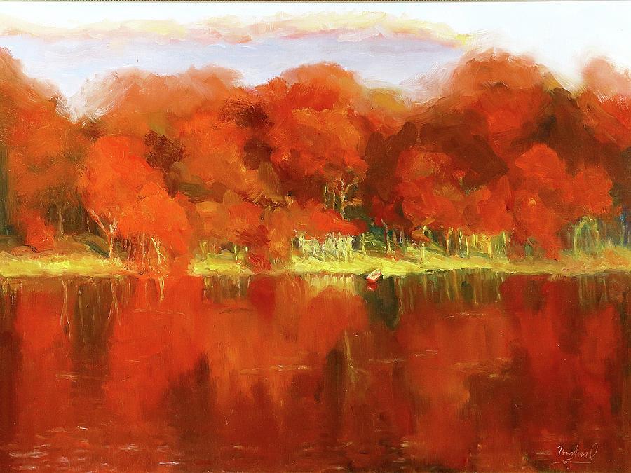 Fall Oak Trees by Mark Haglund