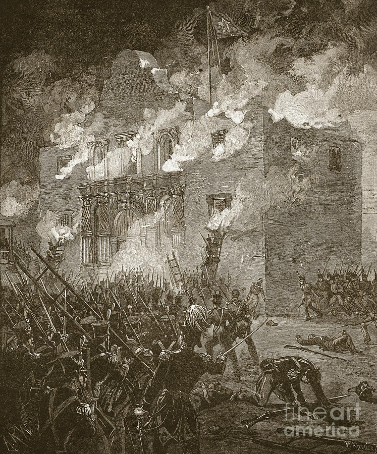 Engraving Drawing - Fall Of The Alamo by Alfred Rudolph Waud