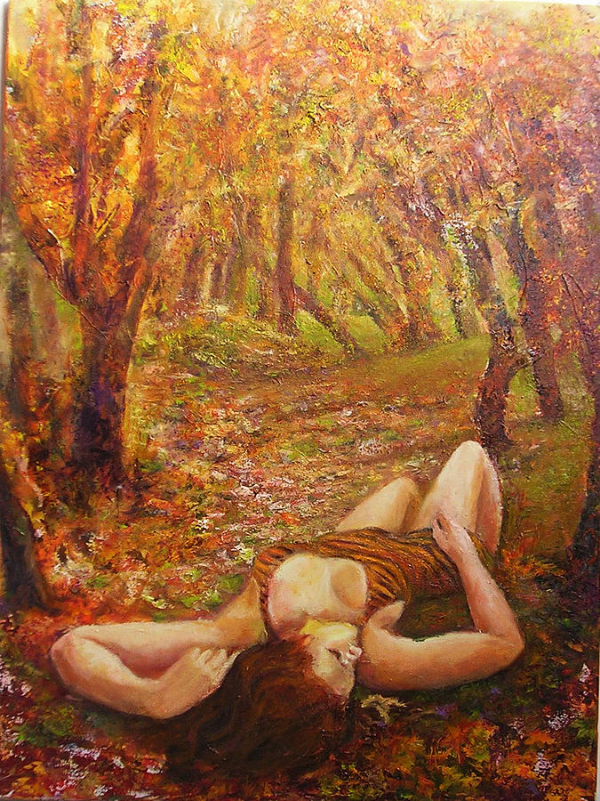 Landscape Painting - Fall Of The Leaves by Sylva Zalmanson