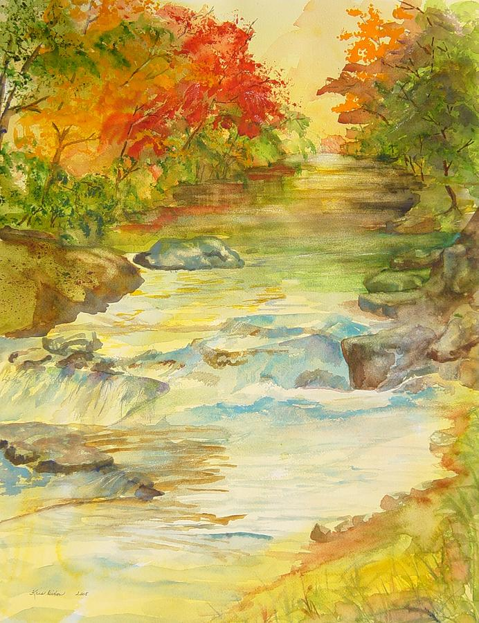 Mountain River Painting - Fall On East Fork River by Kris Dixon