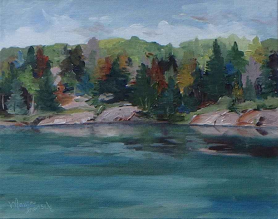 Oil On Canvas Painting - Fall On George Lake  by Monica Ironside