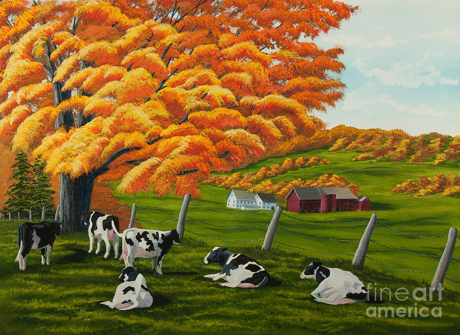 fall on the farm painting by charlotte blanchard