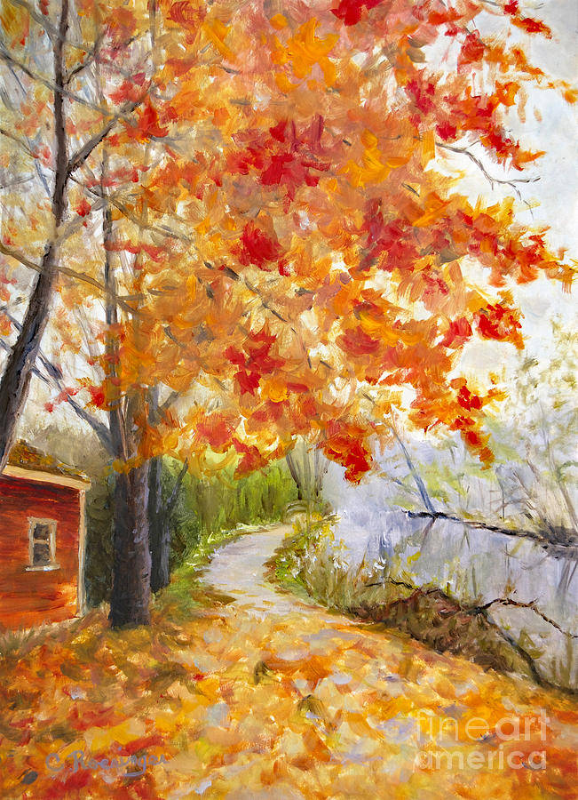 Lambertville Painting - Fall on the Lambertville Towpath by Paint Box Studio
