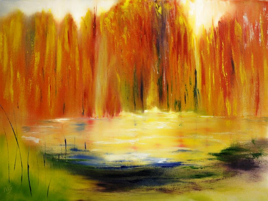 Abstract Painting - Fall Pond by Larry Ney  II