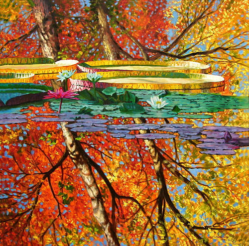 Garden Pond Painting - Fall Reflections 2 by John Lautermilch