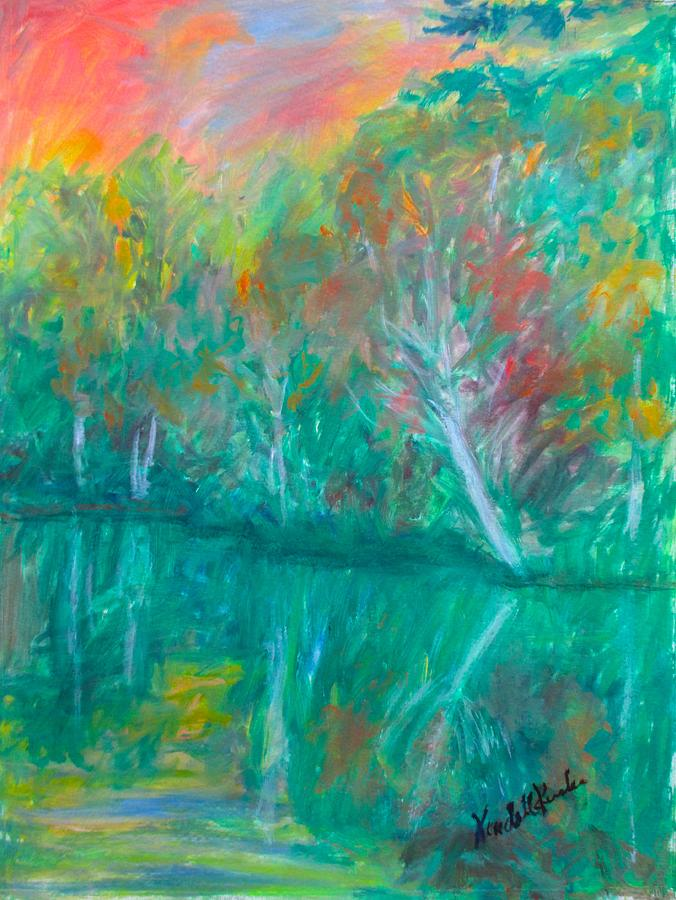 Trees Painting - Fall Reflections At Peaks Of Otter Stage One by Kendall Kessler