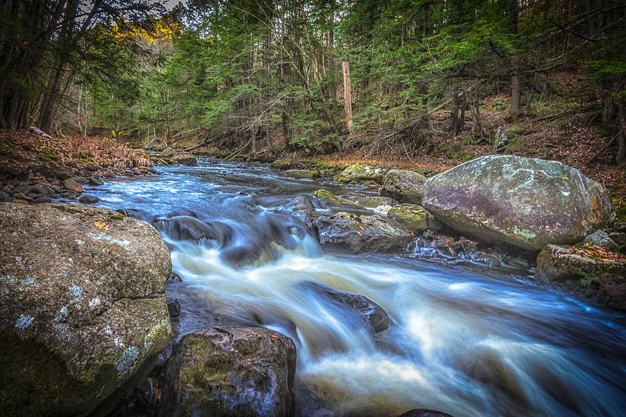 New Hampshire Photograph - Fall Riverbank by Bob Bernier
