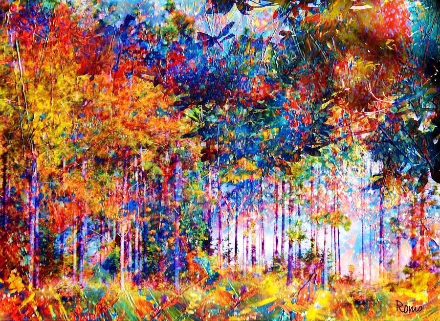 Abstract Landscape Mixed Media - Fall by Robin Monroe