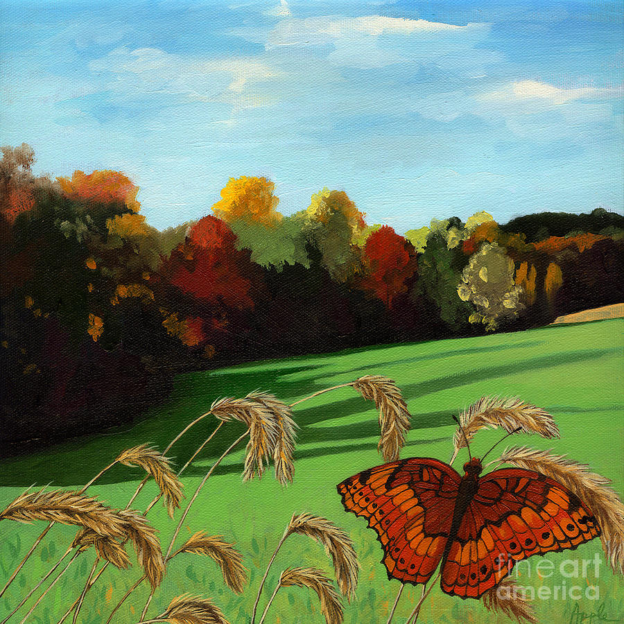 Landscape Painting Painting - Fall Scene Of Ohio Nature Painting by Linda Apple
