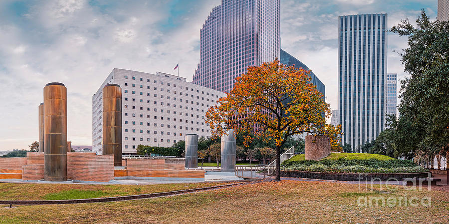 Downtown Photograph - Fall Season Panorama Of Tranquility Park In Downtown Houston - Harris County Texas by Silvio Ligutti
