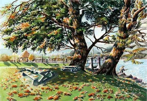 Fall Shapes Rocky Point Park Painting by Dumitru Barliga