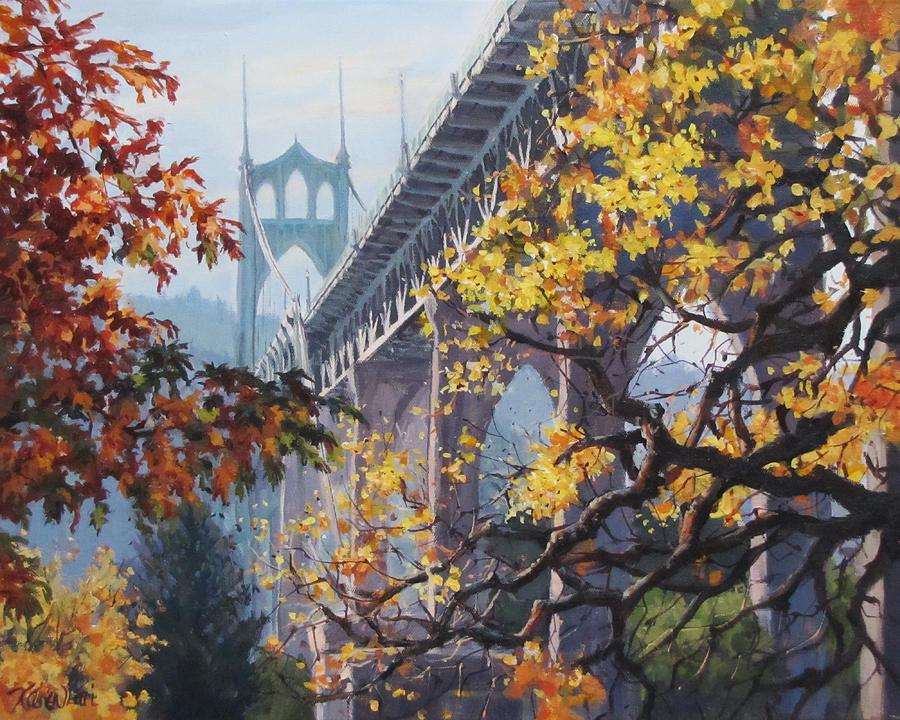 Portland Painting - Fall St Johns by Karen Ilari