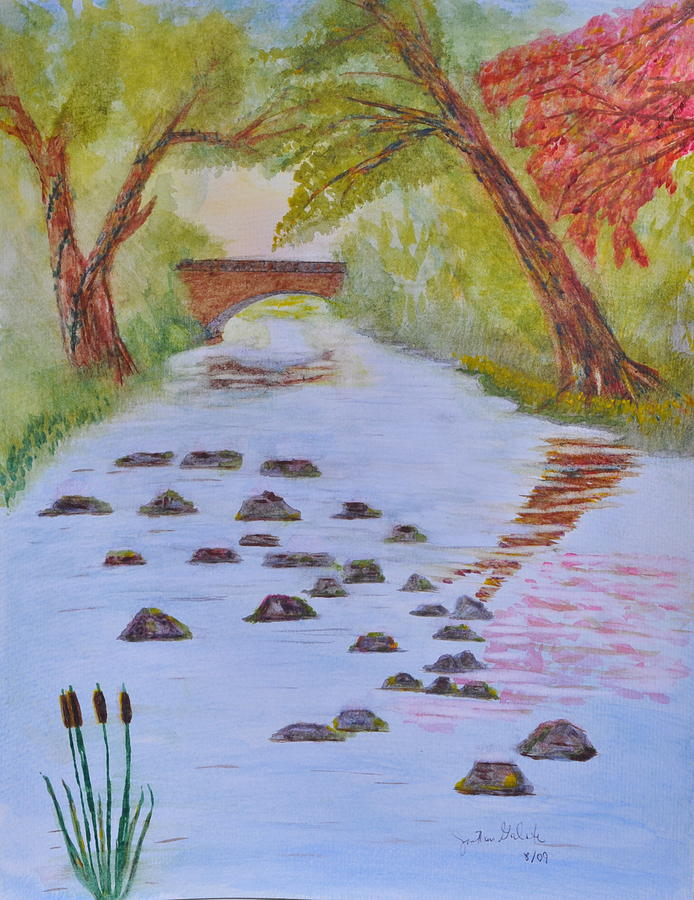 Fall Stream Land Scape Painting by Jonathan Galente