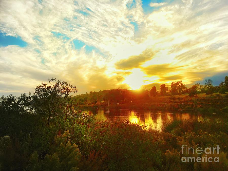 Fall Sunset at Lake Murray San Diego by John Castell