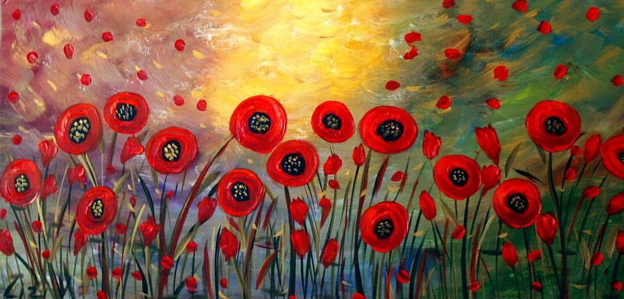 Flowers Painting - Fall Time Poppies  by Luiza Vizoli