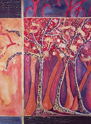 Trees Painting - Fall Trees by Matilde Caceres-Zelinger