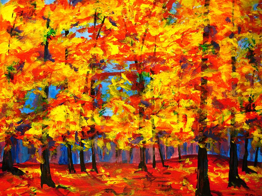 Fall trees painting by rosie phillips for Autumn tree painting