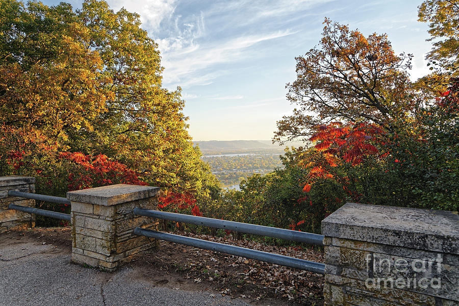 Fall View of Winona Minnesota with Railing by Kari Yearous