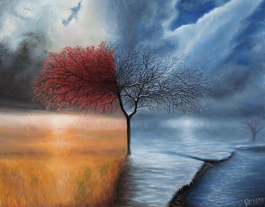 Seasons Painting - Fall / Winter by Brian Nunes
