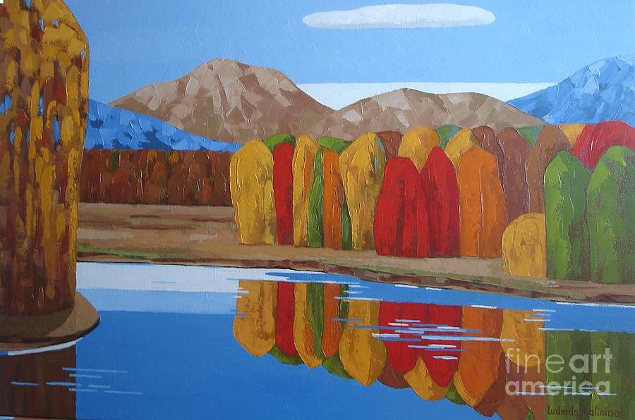 Mountains Painting - Fall.bc. by Ludmila Kalinina