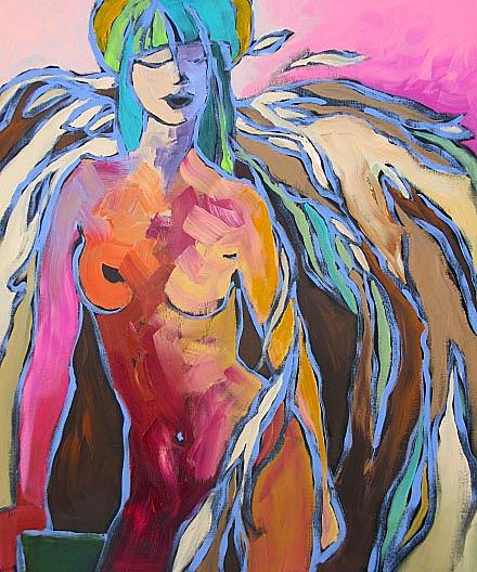 Abstract Painting - Fallen Angel by Linda Monfort
