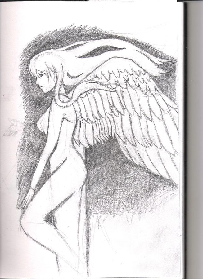 Fallen angel weapon pencil skecth drawing by megan connell thecheapjerseys Gallery