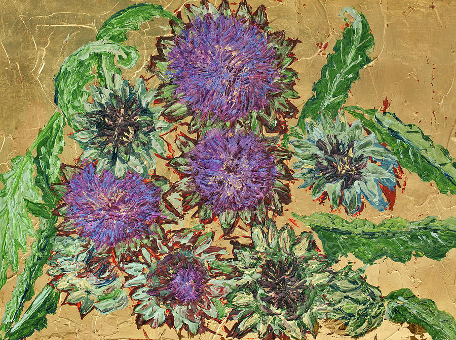 Fallen Artichokes on Gold Leaf by Julene Franki