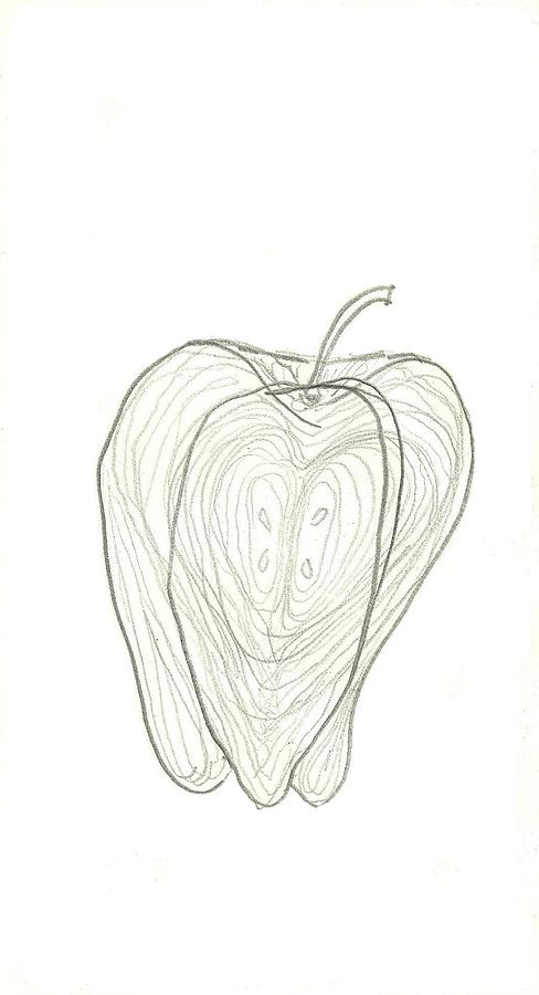 Apple Drawing - Fallen Fruits by Theresa Rawlings