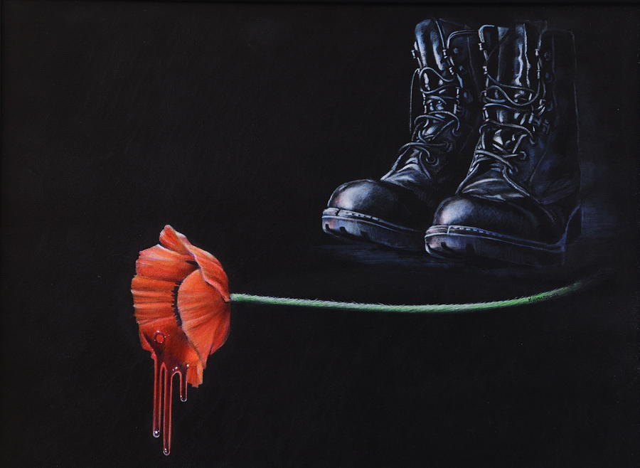 Poppy Painting - Fallen by Karl Hamilton-Cox