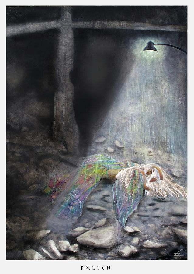 Angel Painting - Fallen  by Larry Rice