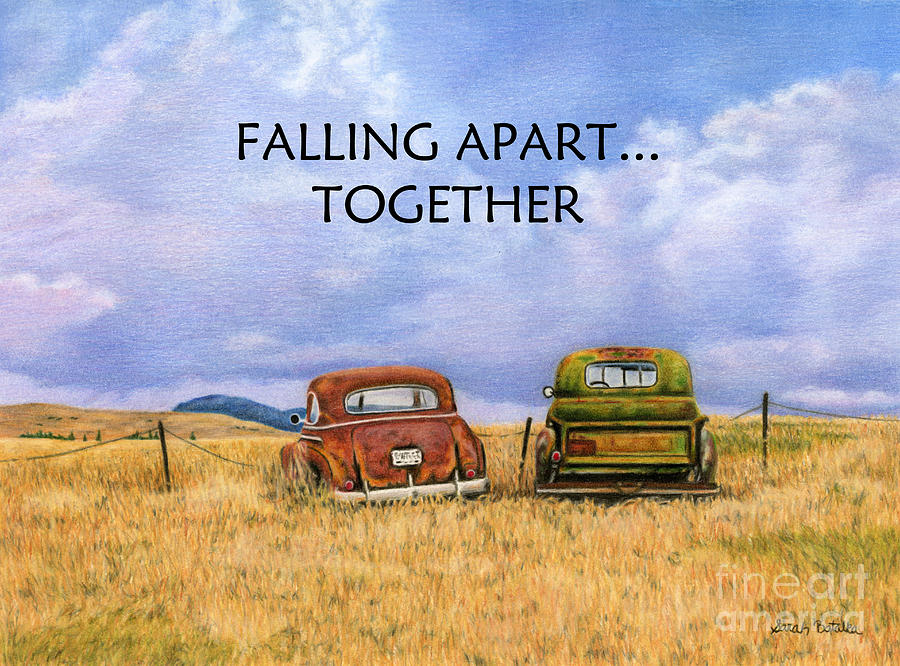 Vintage Cars Painting - Falling Apart Together by Sarah Batalka