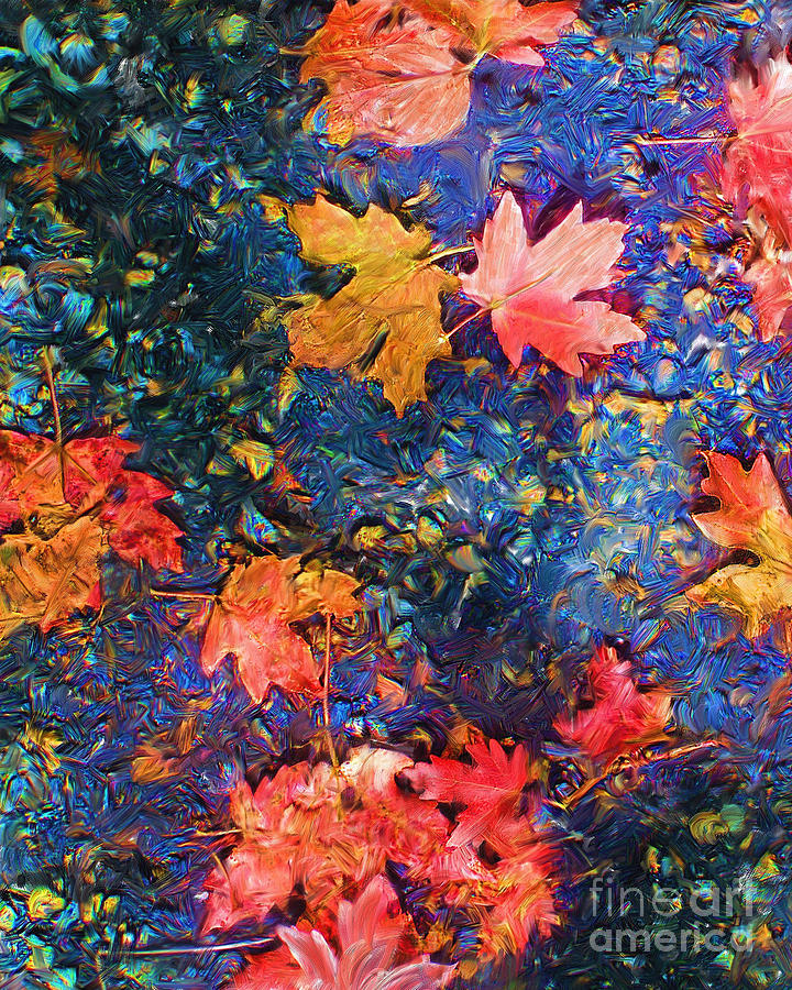 Fall Mixed Media - Falling Blue Leave by Marilyn Sholin