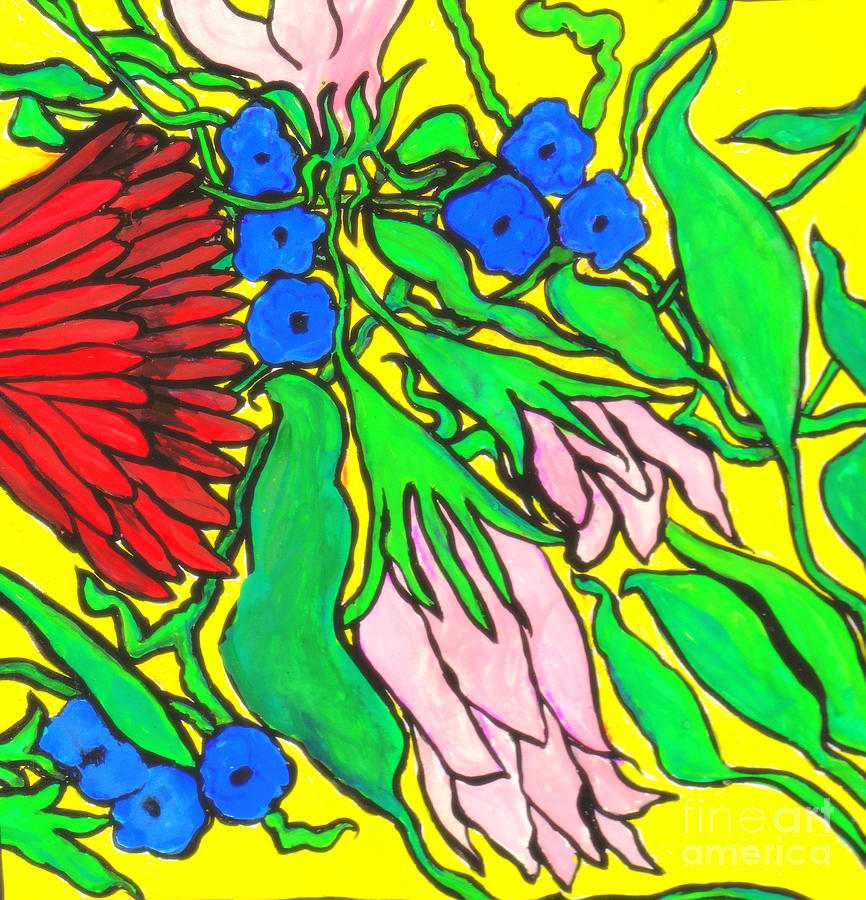 Flowers Drawing - Falling Flowers On Yellow Background by Kim Wilcox