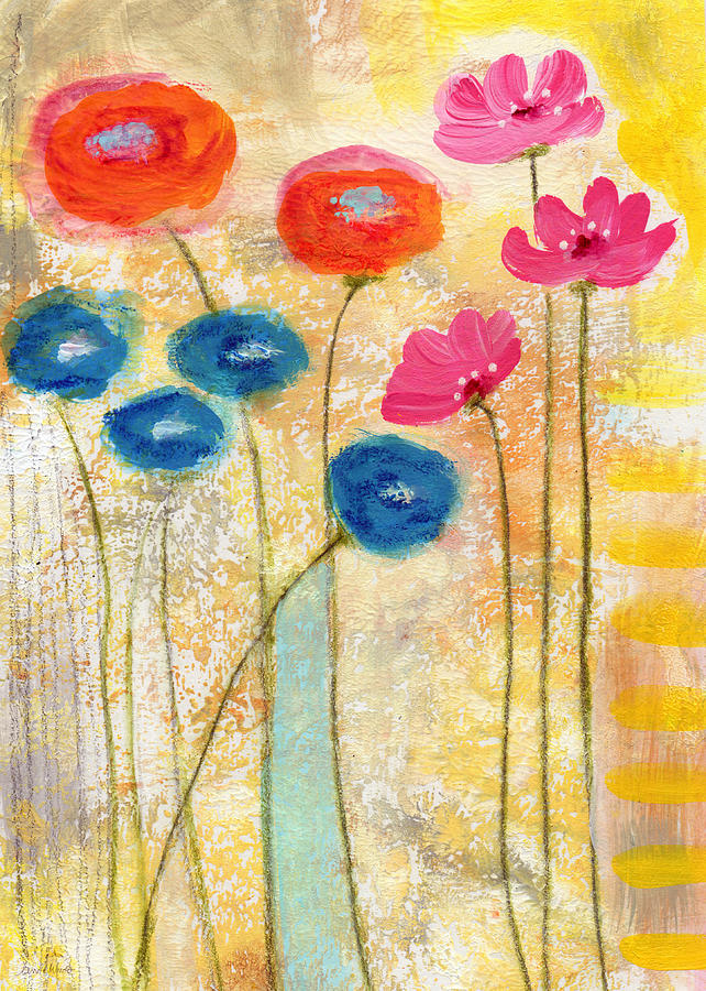 Falling For You- Floral Art By Linda Woods Painting