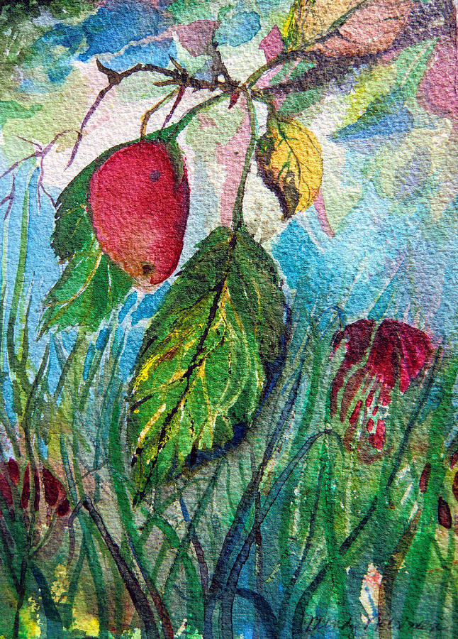 Plum Painting - Falling Fruit by Mindy Newman