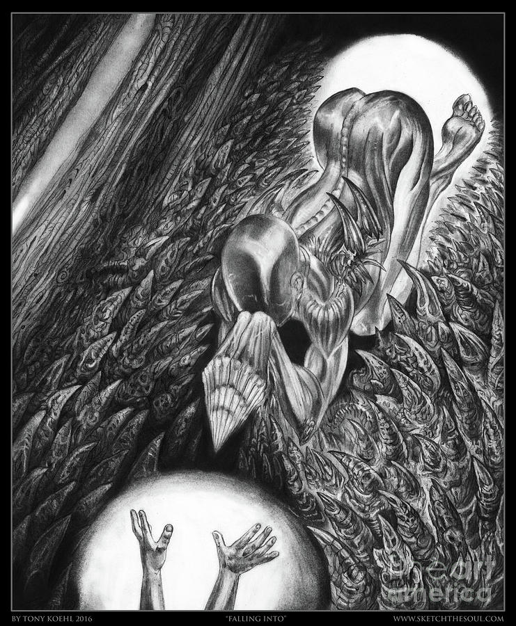 Graphite Drawing - Falling Into by Tony Koehl
