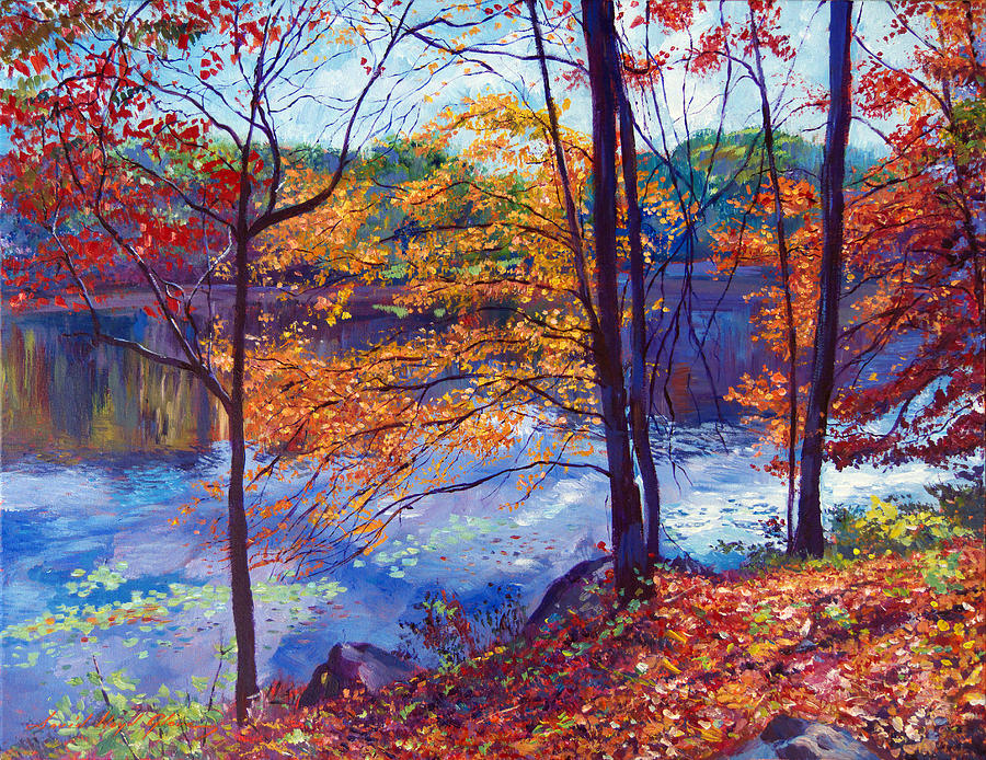 Landscape Painting - Falling Leaves by David Lloyd Glover