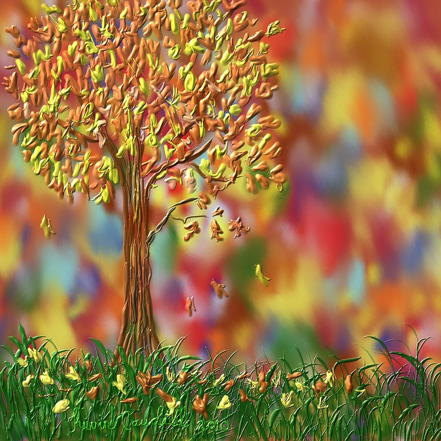 Tree Painting - Falling Leaves by Kevin Caudill